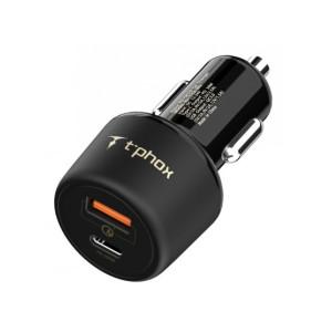 Автомобильное зарядное устройство T-PHOX Fast Charge - Type-C PD 30W+QC 3.0 18W Black (Apace Car 48W)