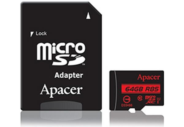 Карта пам Apacer microSDXC 64GB Class 10 UHS-I R85 + SD adapter (AP64GMCSX10U5-R)