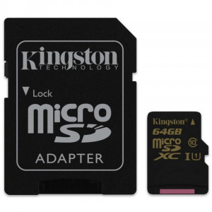 Карта памяти KINGSTON microSDXC 64Gb Canvas Select U1 (R80/W10)+ad