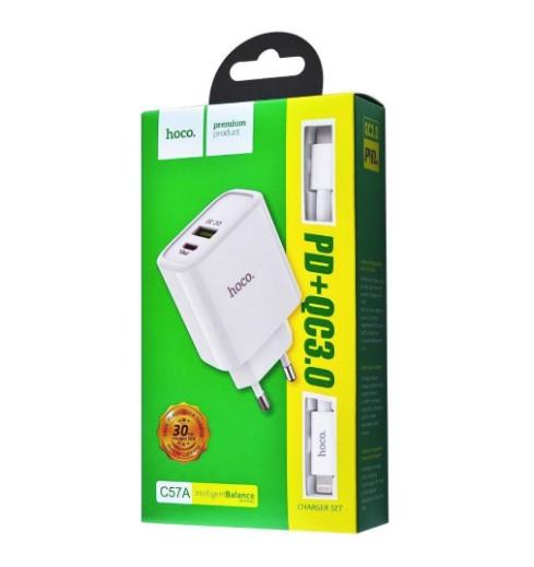 СЗУ Hoco C57A + Cable (Type-C to Lightning) PD+QC3.0 USB + Type-C