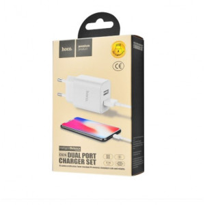 СЗУ Hoco C62A Charger + Cable (Lightning) 2.1A 2USB white