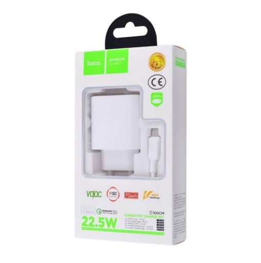 СЗУ Hoco C69A Dynamic + Cable (Type-C) QC3.0 1USB white
