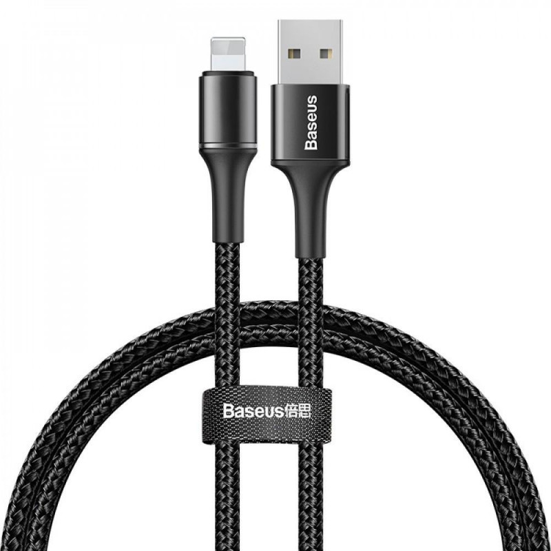 Кабель Lightning Baseus halo data cable USB For IP 2.4A 0.5m Black (CALGH-A01)