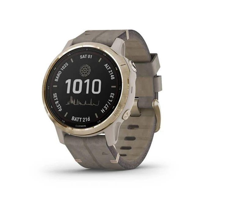 Смарт-часы Garmin Fenix 6S Pro Solar Edition Light gold with shale grey suede band (010-02409-26)
