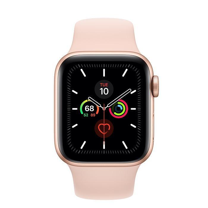 Смарт-часы Apple Watch Series 5 GPS 44mm Gold Aluminum w. Pink Sand b.- Gold Aluminum (MWVE2)
