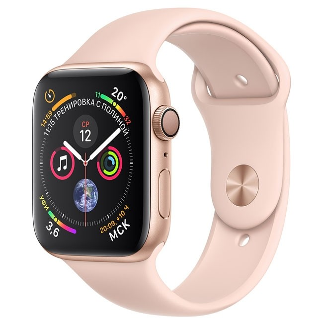 Apple Watch Series 4 GPS 44mm Gold Alum. w. Pink Sand Sport b. Gold Alum. (MU6F2)