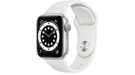 Смарт-часы Apple Watch Series 6 GPS 44mm Silver Aluminum Case w. White Sport B. (M00D3)