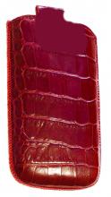 Чехол кожаный крокодил для Nokia C5-03 red