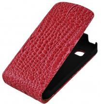 Чехол кожаный крокодил для Nokia C7 red
