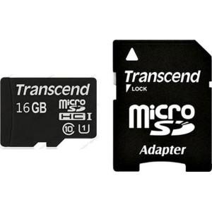 Карта памяти Transcend microSDHC 16 GB class 10 + SD Adapter (TS16GUSDHC10)