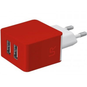 Trust urban revolt dual smart wall charger red (20149)