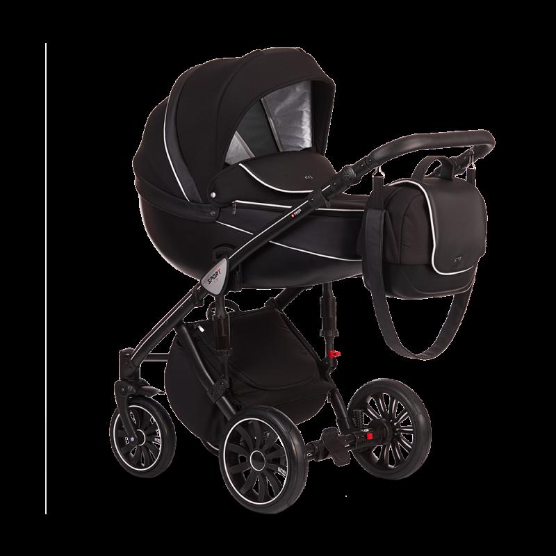 Универсальная коляска 2 в 1 Anex Sport Q1 SP13 Чёрная Экокожа/Чёрный Жаккард