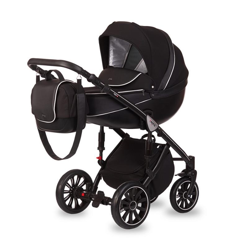 Универсальная коляска 3 в 1 Anex Sport Q1 SP13 Чёрная Экокожа/Чёрный Жаккард