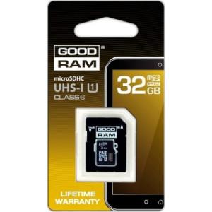 Карта памяти Goodram microSDHC 32GB Class 10 UHS I + adapter (SDU32GHCUHS1AGRR10)