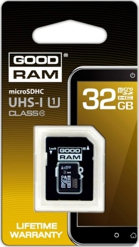 Goodram microSDHC 32GB Class 10 UHS I + adapter (SDU32GHCUHS1AGRR10)
