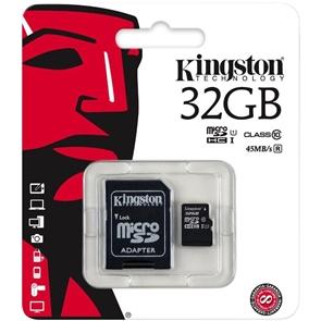 Карта памяти Kingston microSDHC 32 GB Class 10 UHS-I + SD Adapter SDC10G2/32GB
