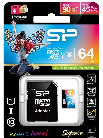 Silicon Power microSDXC 64Gb Class 10 UHS-I Elite Color + SD adapter (SP064GBSTXBU1V20-SP)