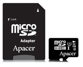 Карта памяти APACER microSDHC 32GB UHS-I U1+adapter