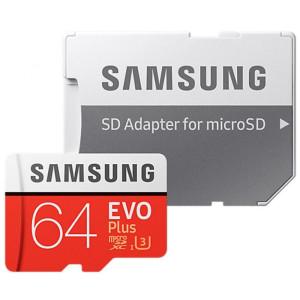 Карта памяти Samsung 64 GB microSDXC Class 10 UHS-I U3 EVO Plus + SD Adapter MB-MC64GA
