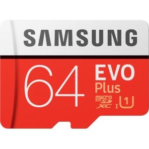 Карта памяти SAMSUNG  64GB microSDXC UHS-I U3 EVO PLUS V2 (MB-MC64HA/RU) (R100, W20MB/s)