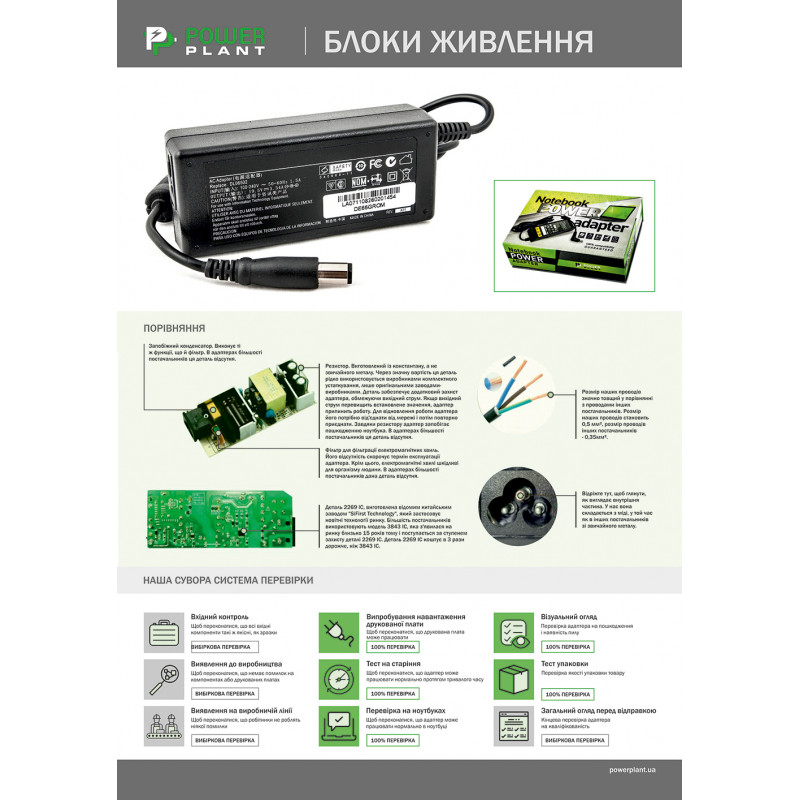 Блок питания для ноутбуков PowerPlant ASUS 220V, 19V 65W 3.42A (4.0*1.35) wall mount