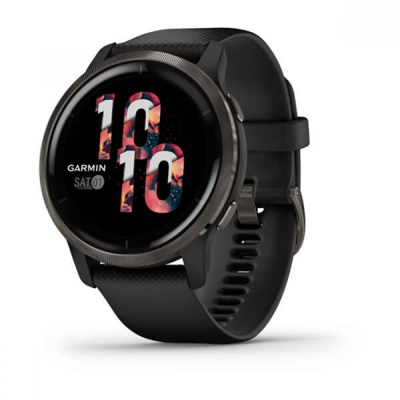 Смарт-часы Garmin Venu 2 Slate Stainless Steel Bezel with Black Case and Silicone Band (010-02430-01)